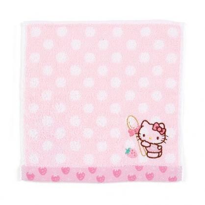 〔小禮堂〕Hello Kitty 純棉無捻紗小方巾《粉.點點紋》20x20cm.手帕.毛巾