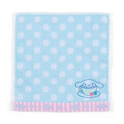 〔小禮堂〕大耳狗 純棉無捻紗小方巾《藍.點點紋》20x20cm.手帕.毛巾
