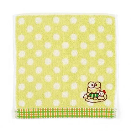 〔小禮堂〕大眼蛙 純棉無捻紗小方巾《綠.點點紋》20x20cm.手帕.毛巾