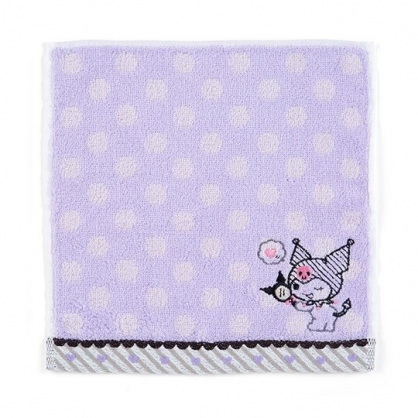 〔小禮堂〕酷洛米 純棉無捻紗小方巾《紫.點點紋》20x20cm.手帕.毛巾