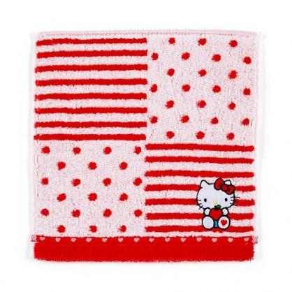 〔小禮堂〕Hello Kitty 純棉無捻紗小方巾《紅.橫紋》20x20cm.手帕.毛巾