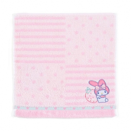 〔小禮堂〕美樂蒂 純棉無捻紗小方巾《粉.橫紋》20x20cm.手帕.毛巾