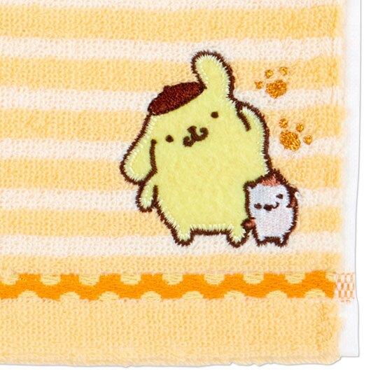 〔小禮堂〕布丁狗 純棉無捻紗小方巾《黃.橫紋》20x20cm.手帕.毛巾