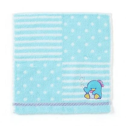 〔小禮堂〕山姆企鵝 純棉無捻紗小方巾《藍.橫紋》20x20cm.手帕.毛巾