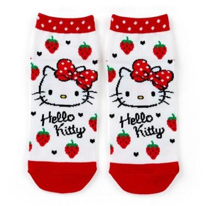 〔小禮堂〕Hello Kitty 成人及踝襪《紅白.草莓》腳長23-25cm.短襪.棉襪