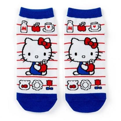 〔小禮堂〕Hello Kitty 成人及踝襪《藍白.蘋果》腳長23-25cm.短襪.棉襪