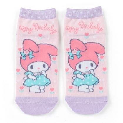 〔小禮堂〕美樂蒂 成人及踝襪《粉紫.綠洋裝》腳長23-25cm.短襪.棉襪