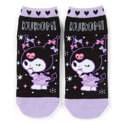〔小禮堂〕酷洛米 成人及踝襪《黑紫.轉身》腳長23-25cm.短襪.棉襪