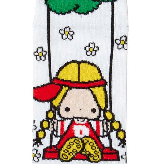 〔小禮堂〕Patty&Jimmy 成人及踝襪《藍紅.盪鞦韆》腳長23-25cm.短襪.棉襪