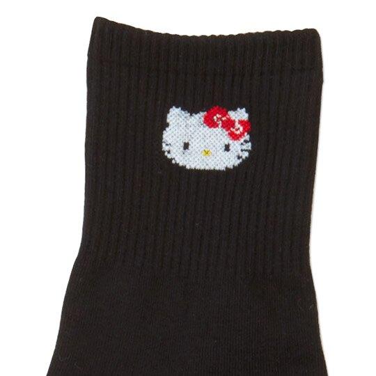 〔小禮堂〕Hello Kitty 成人棉質長襪《黑.大臉》腳長23-25cm.中筒襪