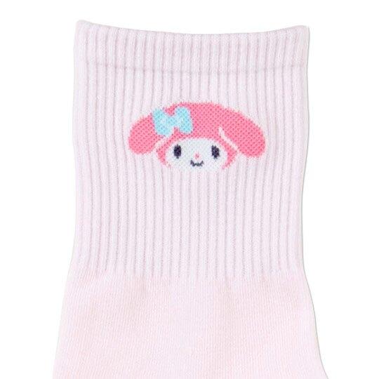 〔小禮堂〕美樂蒂 成人棉質長襪《粉.大臉》腳長23-25cm.中筒襪