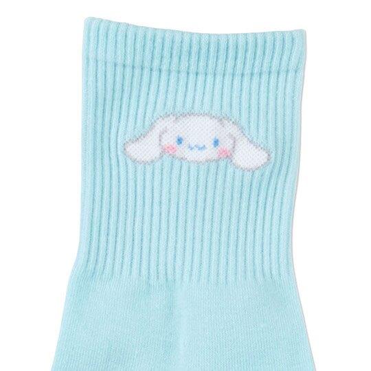 〔小禮堂〕大耳狗 成人棉質長襪《藍.大臉》腳長23-25cm.中筒襪
