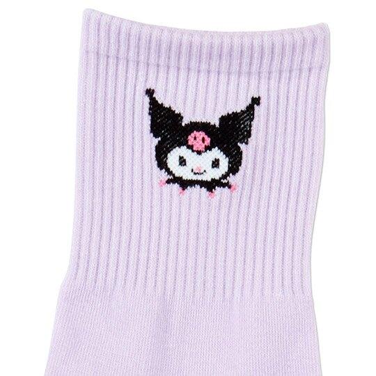 〔小禮堂〕酷洛米 成人棉質長襪《紫.大臉》腳長23-25cm.中筒襪