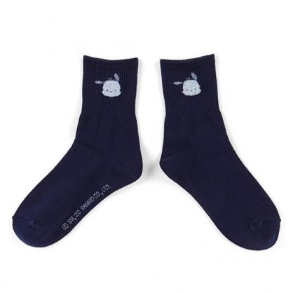 〔小禮堂〕帕恰狗 成人棉質長襪《深藍.大臉》腳長23-25cm.中筒襪