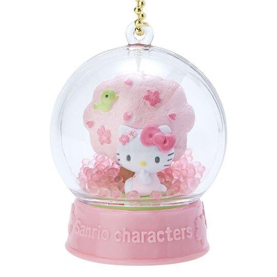 〔小禮堂〕Hello Kitty 水晶球雪球造型吊飾《粉》雪球掛飾.擺飾.燦爛櫻花系列