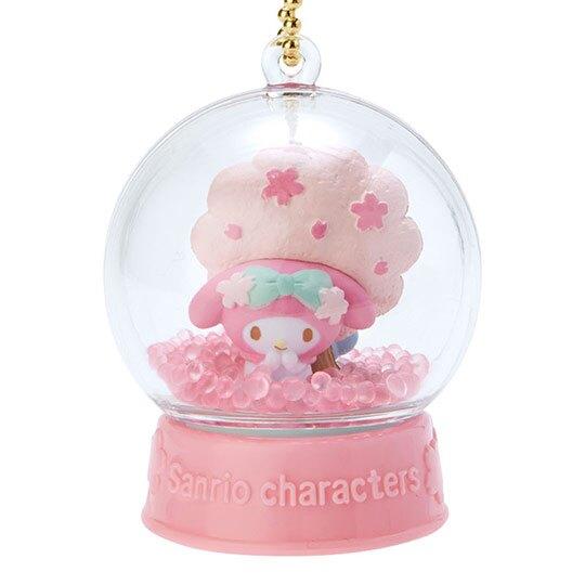 〔小禮堂〕美樂蒂 水晶球雪球造型吊飾《粉》雪球掛飾.擺飾.燦爛櫻花系列