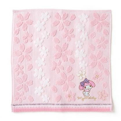 〔小禮堂〕美樂蒂 純棉無捻紗小方巾《粉紫》25x25cm.手帕.燦爛櫻花系列