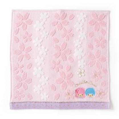 〔小禮堂〕雙子星 純棉無捻紗小方巾《粉藍》25x25cm.手帕.燦爛櫻花系列