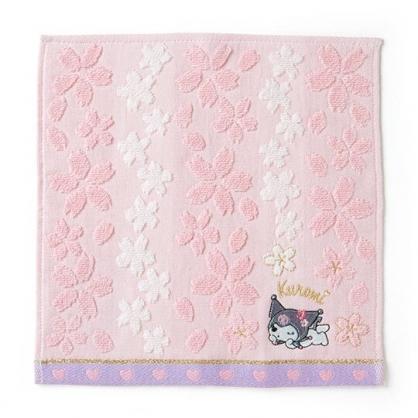 〔小禮堂〕酷洛米 純棉無捻紗小方巾《粉紫》25x25cm.手帕.燦爛櫻花系列