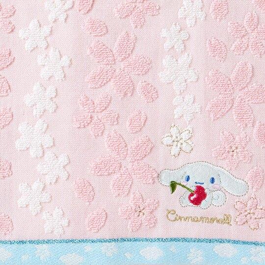〔小禮堂〕大耳狗 純棉無捻紗小方巾《粉白》25x25cm.手帕.燦爛櫻花系列