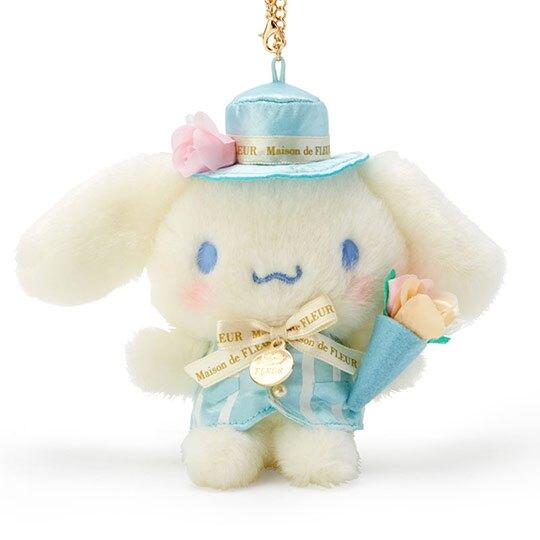 〔小禮堂〕大耳狗 x Maison de FLEUR 絨毛玩偶娃娃吊飾《藍》掛飾.鑰匙圈