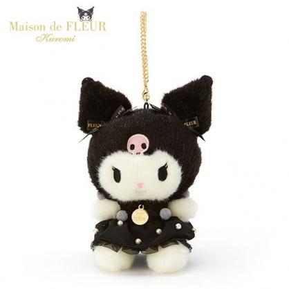 〔小禮堂〕酷洛米 x Maison de FLEUR 絨毛玩偶娃娃吊飾《黑》掛飾.鑰匙圈