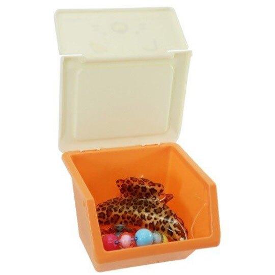 〔小禮堂〕角落生物 貓咪 可堆疊塑膠前開式掀蓋收納盒《橘》置物盒.文具盒