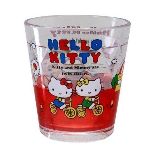 〔小禮堂〕Hello Kitty 無把透明塑膠小水杯《紅.講電話》270ml.漱口杯.塑膠杯