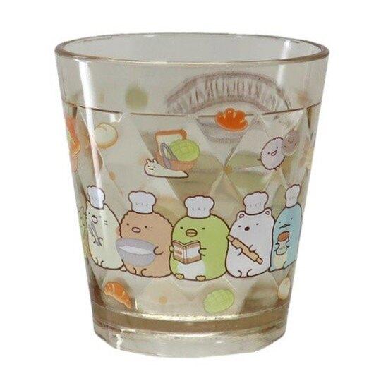 〔小禮堂〕角落生物 無把透明塑膠小水杯《黃.麵包》270ml.漱口杯.塑膠杯