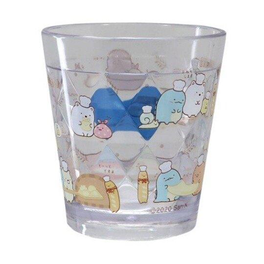 〔小禮堂〕角落生物 無把透明塑膠小水杯《白.麵包》270ml.漱口杯.塑膠杯