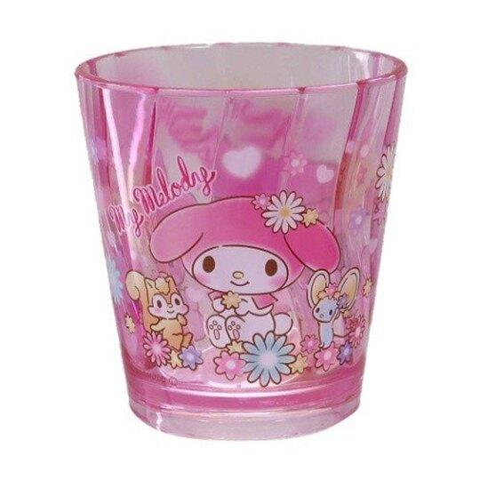 〔小禮堂〕美樂蒂 無把透明塑膠小水杯《粉.花朵》270ml.漱口杯.塑膠杯