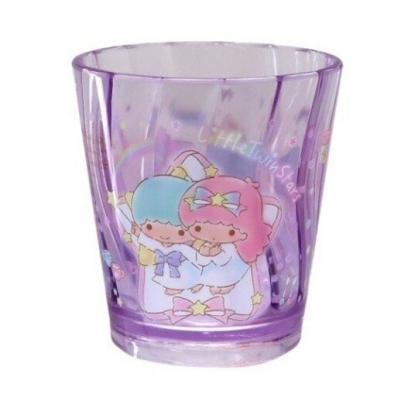 〔小禮堂〕雙子星 無把透明塑膠小水杯《紫.緞帶框》270ml.漱口杯.塑膠杯