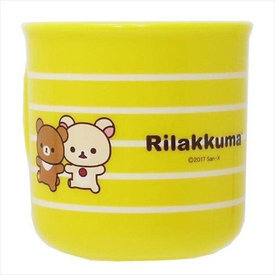 〔小禮堂〕懶懶熊 拉拉熊 日製單耳塑膠小水杯《黃.橫紋》200ml.漱口杯.茶杯