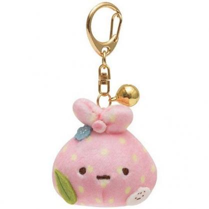〔小禮堂〕角落生物 包袱 絨毛玩偶娃娃鈴鐺吊飾《粉綠》掛飾.鑰匙圈.鎖圈