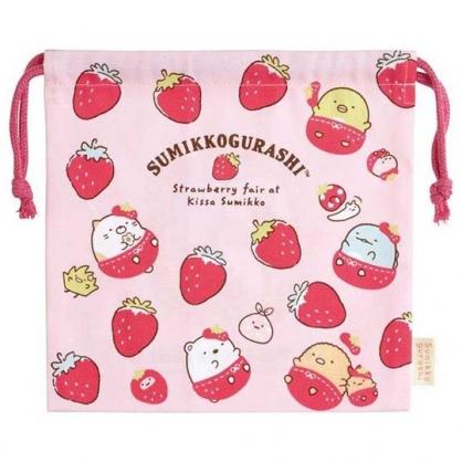 〔小禮堂〕角落生物 日製棉質束口袋《粉.草莓》20x20cm.縮口袋.收納袋