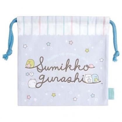 〔小禮堂〕角落生物 日製棉質束口袋《藍白.文字星星》20x20cm.縮口袋.收納袋