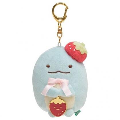 〔小禮堂〕角落生物 恐龍 沙包絨毛玩偶娃娃吊飾《藍.草莓》掛飾.鑰匙圈.鎖圈