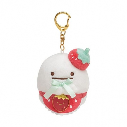 〔小禮堂〕角落生物 幽靈 沙包絨毛玩偶娃娃吊飾《白.草莓》掛飾.鑰匙圈.鎖圈