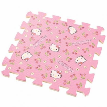 〔小禮堂〕Hello Kitty 方形拼圖地墊《10入.粉.花朵》31x31cm.地板巧拼.遊戲軟墊