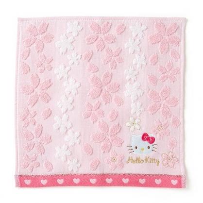 〔小禮堂〕Hello Kitty 純棉無捻紗小方巾《紅粉》25x25cm.手帕.燦爛櫻花系列