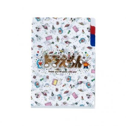 〔小禮堂〕哆啦A夢 日製迷你L型分類文件夾《白.50週年》資料夾.L夾.檔案夾