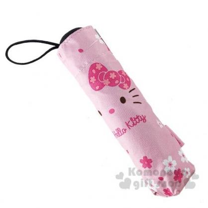〔小禮堂〕Hello Kitty 抗UV折疊雨陽傘《粉.大臉櫻花》折傘.雨傘.雨具