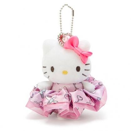 〔小禮堂〕Hello Kitty 絨毛玩偶娃娃吊飾髮飾戒指組《粉》掛飾.鑰匙圈.髮束.大腸圈