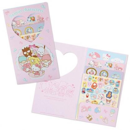 〔小禮堂〕Sanrio大集合 日製造型貼紙組附收納夾《粉白.冰淇淋》200枚入.裝飾貼.手帳貼紙