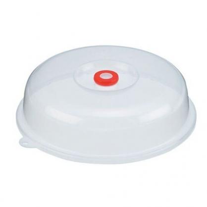 〔小禮堂〕日本INOMATA 日製圓形可微波透明塑膠蓋《白》直徑23cm.微波蓋.餐盤蓋