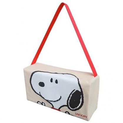 〔小禮堂〕史努比 車用帆布吊掛面紙套《米白.大臉》面紙盒.紙巾套
