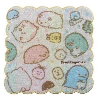 〔小禮堂〕角落生物 造型純棉無捻紗小方巾《米黃.點點》26x26cm.手帕
