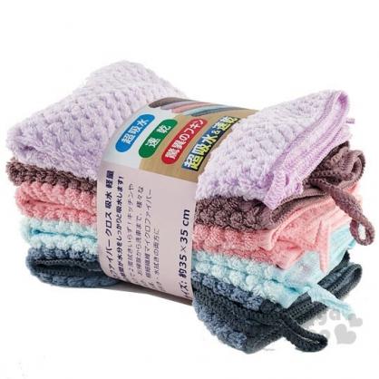 〔小禮堂〕超吸水彩色抹布組《5入》35x35cm.毛巾