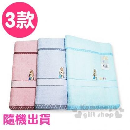 〔小禮堂〕彼得兔 純棉無捻紗大浴巾《3款隨機.粉/綠/藍》70x140cm.毛巾