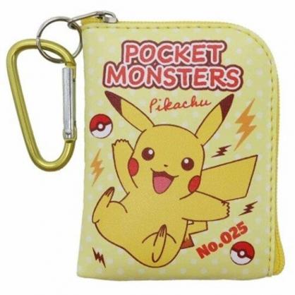 〔小禮堂〕神奇寶貝Pokemon皮卡丘 迷你方形皮質拉鍊零錢包《黃紅.寶貝球》掛飾.收納包.耳機包